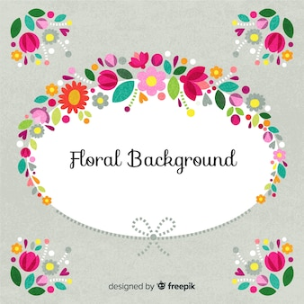 Floral oval frame background