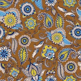 갈색 배경에 전통적인 페르시아 부타 모티브와 멘디 요소가 있는 꽃무늬 페이즐리 패턴. 섬유 인쇄, 벽지, 포장지, 배경에 대한 양식화된 벡터 일러스트레이션.
