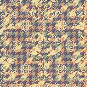 Floral pastel color background with houndstooth pattern
