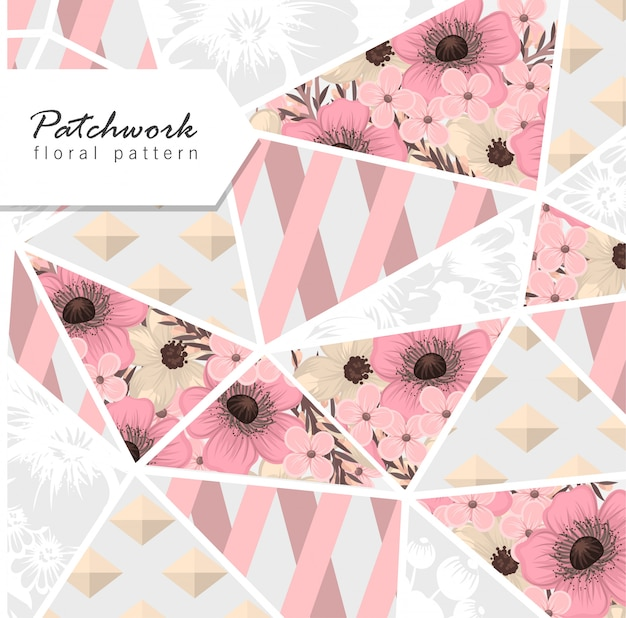 Цветочный лоскутный фон с цветочными геометрическими элементами