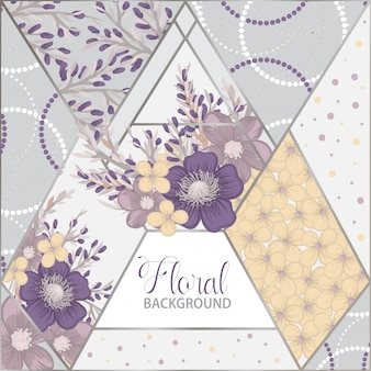 Floral patchwork pattern with geometrical elements