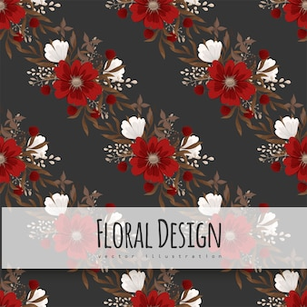 Floral pattern background - red flowers