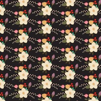 Floral pattern on black background
