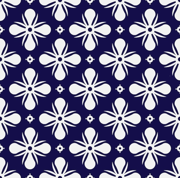 Floral pattern blue and white