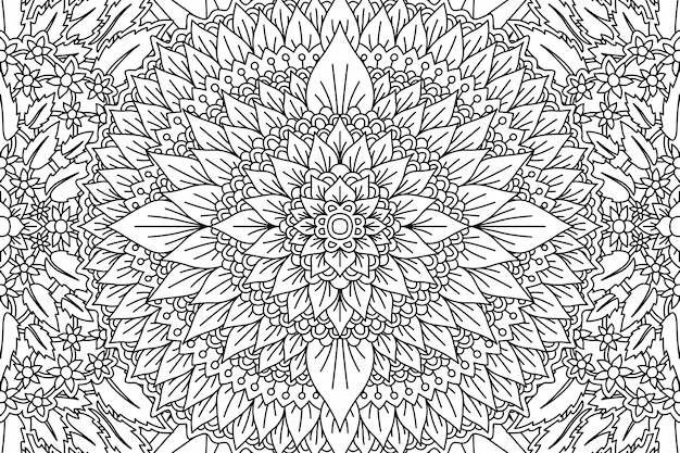 Floral pattern for coloring book page with foliage