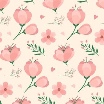 복숭아 톤의 꽃 패턴 디자인
