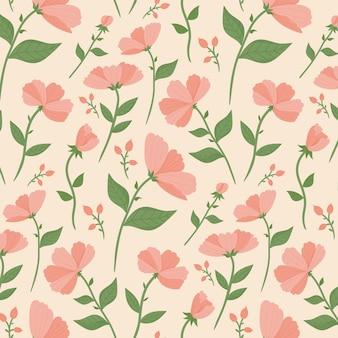 桃色の花柄デザイン