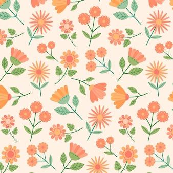 복숭아 톤의 꽃 패턴 디자인 무료 벡터