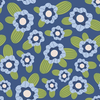 Floral pattern doodle flowers leaves and plants for fabric textile wallpaper