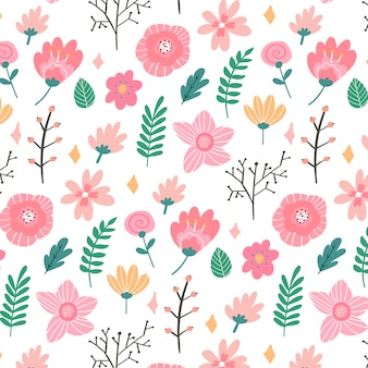 Floral pattern in doodle style with flowers and leaves. gentle, spring floral .