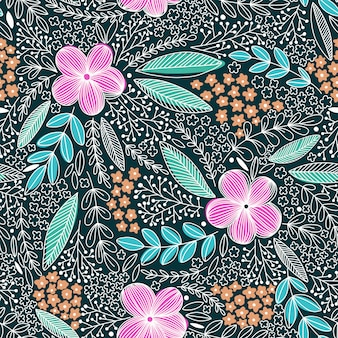 Floral pattern in doodle style with flowers and leaves.