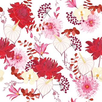 Floral pattern of flowers botanical