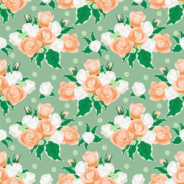 흰색과 크림 장미에서 꽃 패턴입니다.