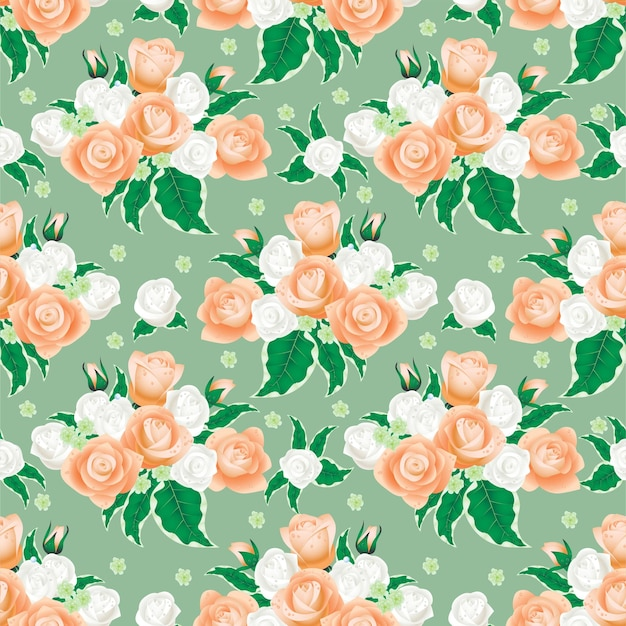 Floral pattern from white and cream roses.