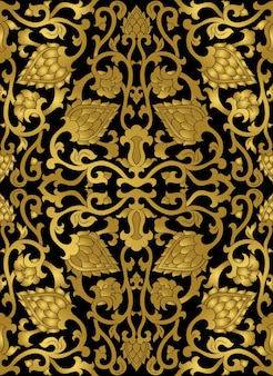 Floral pattern gold template for textile shawl carpet