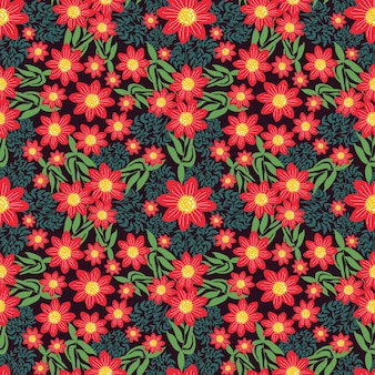Floral pattern hand drawn in small red flowers