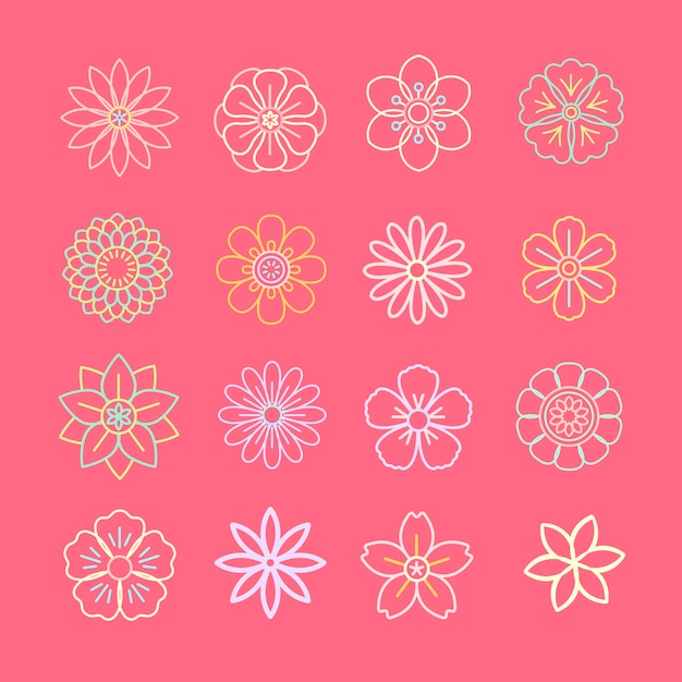 Floral pattern and icons