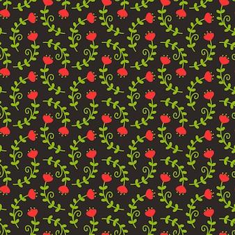 黒、赤、緑の色の花柄。派手な花とのシームレスな背景。