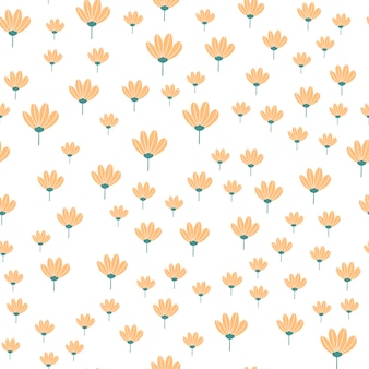 花と葉の落書きスタイルの花柄。