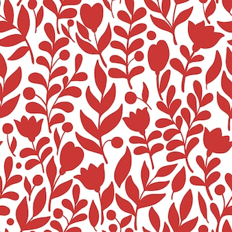 꽃과 잎으로 낙서 스타일의 꽃 패턴