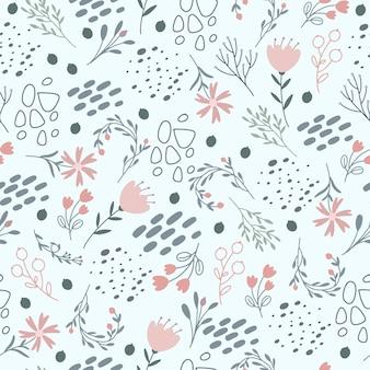 Цветочный узор в нежных пастельных тонах