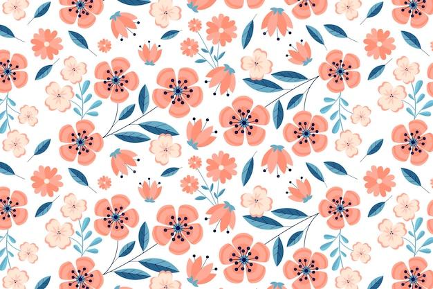 Цветочный узор в персиковых тонах