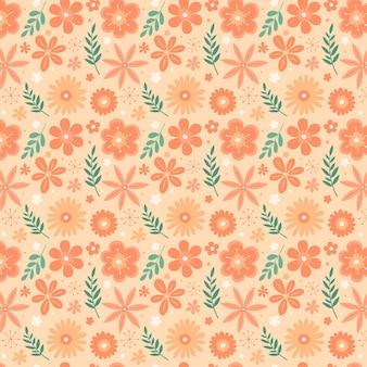 복숭아 톤의 꽃 패턴 무료 벡터