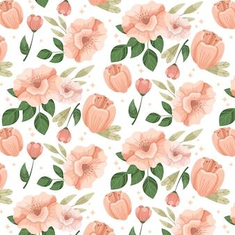 복숭아 톤의 꽃 패턴