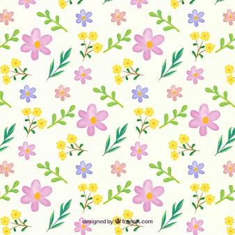수채화 스타일의 꽃 패턴