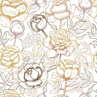 Floral pattern. peonies textile design pictures of flowers and leaves nature seamless background