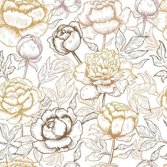 花柄。花と葉の自然のシームレスな背景の牡丹テキスタイルデザイン写真