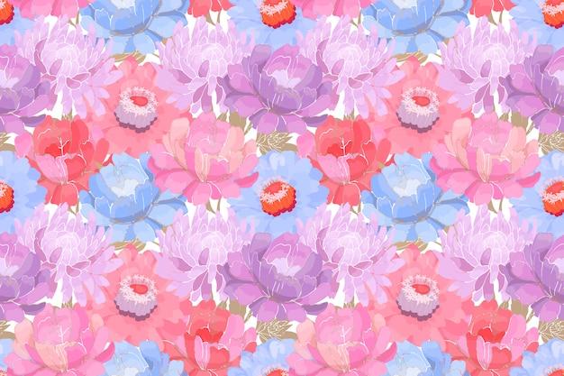 花柄。ベージュの葉が白い背景で隔離のピンク、紫、青の庭の花。美しい牡丹、アスター、ジニア、ファブリック、壁紙デザイン、キッチンテキスタイル。