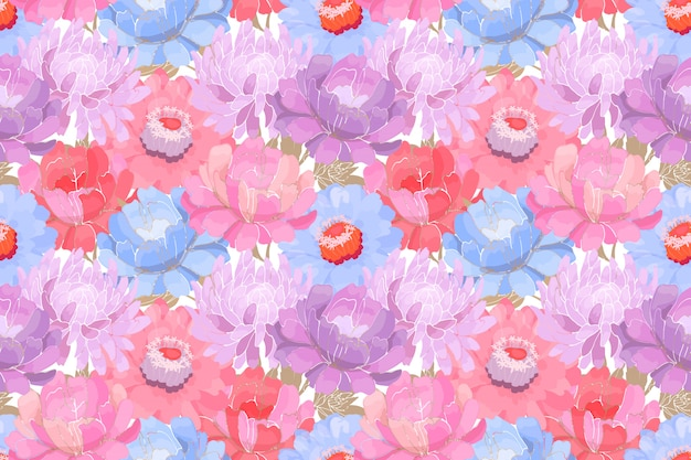 Floral pattern. pink, purple, blue garden flowers with beige leaves isolated on white background. beautiful peonies, asters, zinnias for fabric, wallpaper design, kitchen textile.