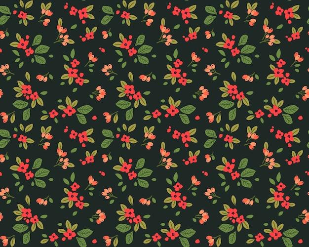 플로랄 패턴. 예쁜 꽃, 진한 녹색 배경. 작은 붉은 꽃으로 인쇄. ditsy 인쇄.
