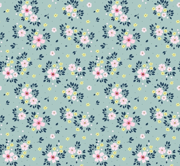 Floral pattern. pretty flowers, light blue background. printing with small pink flowers. ditsy print