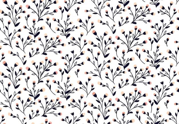 花柄。ファッションプリントや壁紙のための花とのシームレスなベクターテクスチャ。手描きスタイル
