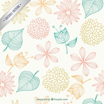 Floral pattern in sketchy style Free Vector