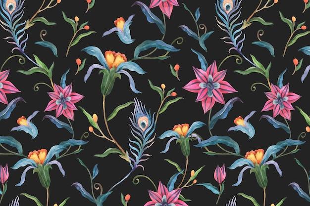 검은 배경에 꽃 패턴 벡터