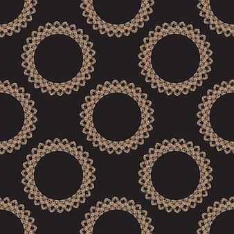 Цветочный узор. обои барокко, штоф. бесшовные векторные фон. золотой и черный орнамент