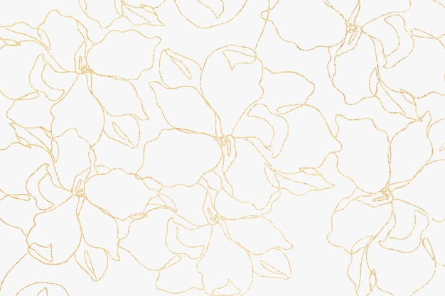 Floral pattern wallpaper vector with hand drawn gold flower