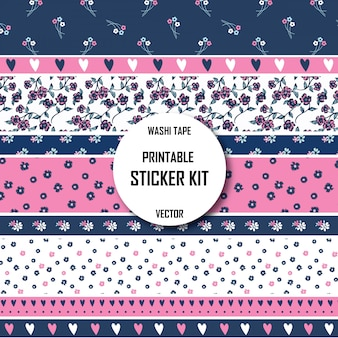 Floral pattern washi tape. printable washi tape