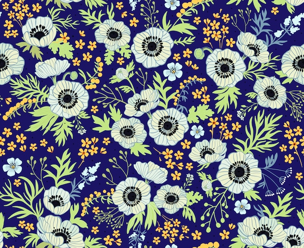 Floral pattern with anemones. beautiful white flowers. dark blue . seamless pattern. floral background. fashion prints. pastel colors.