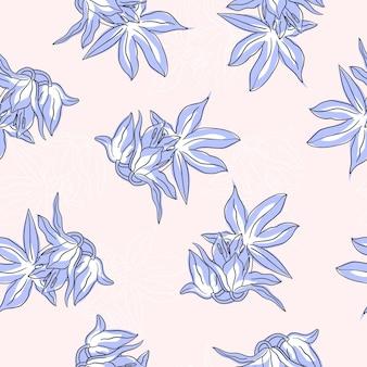 Цветочный узор с синими цветами в стиле рисованной