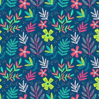 Floral pattern with colorful leaves