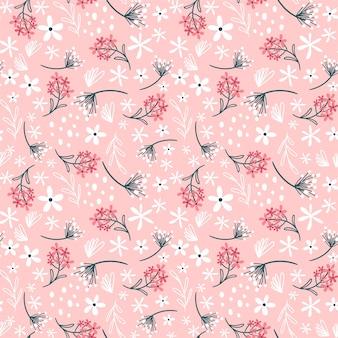 花と葉と花柄。小さな花とかわいいパターン。