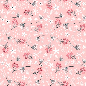 Floral pattern with flowers and leaves. cute pattern with small flowers.