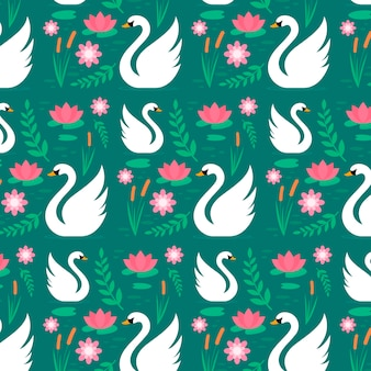 Floral pattern with graceful white swans