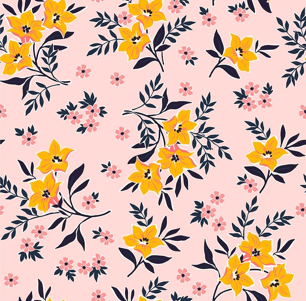 Floral pattern with hand draw small flowers. liberty style. floral seamless background.