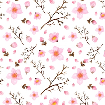 Floral pattern with japanese cherry blossom flowers