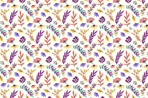 Цветочный узор с листьями и цветами